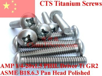 Titanium screws 1/4-20x1.5  Pan  Head PHIL Driver Ti GR2 Polished 50 pcs