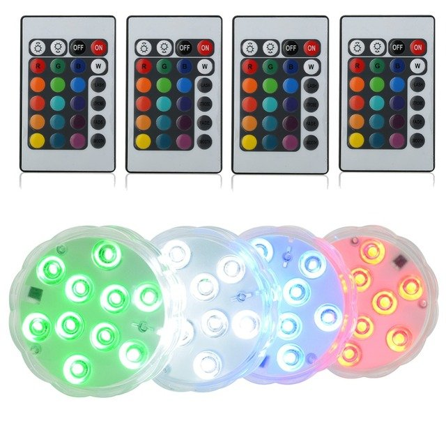 1pc Submersible MultiColor Waterproof Wedding Party Vase submersible Floral led Base Light+ 24key Remote controller