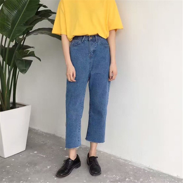 2018 Autumn Korean New Fashion Women Jeans High Waist Casual Loose Wide Leg Pants Ankle-Length Zipper Fly Denim Pants 63095