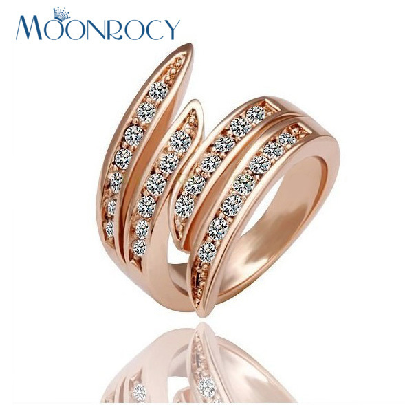 MOONROCY Drop Shipping Wholesale Cubic Zirconia Rose Gold Color Austrian Crystal Rings Fashion Ring Women's Gift Rings
