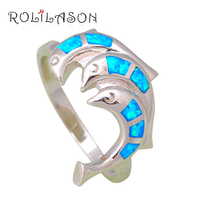 Dolphin Delicate design Wholesale & Retail Blue fire Opal Silver stamped fashion jewelry Rings USA size  #6.75 #7.75 OR386