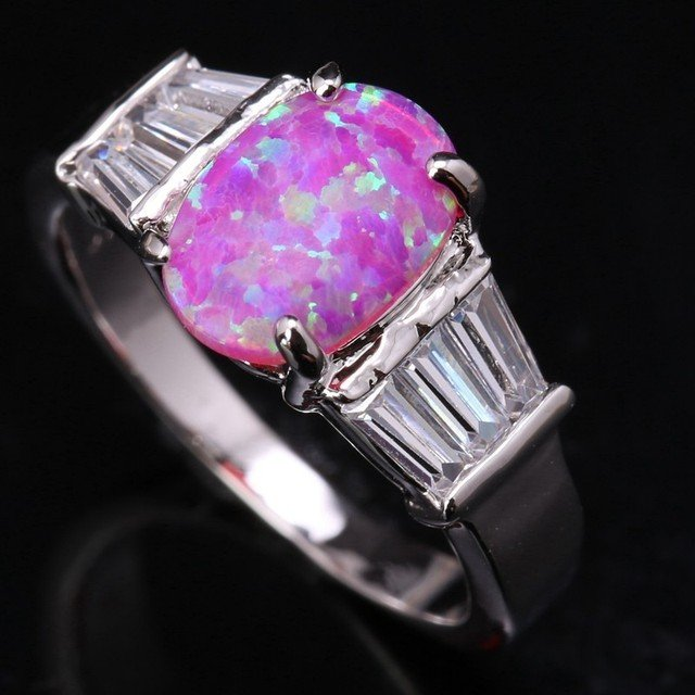 Trendy Stylish Pink Fire Opal White Zircon  Silver Plated Argent Jewelry Wedding Ring Us# Size 6 7 8 9 SF1184