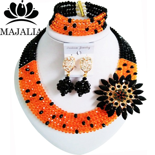 Fashion african jewelry beads orange nigerian wedding african beads jewelry set crystal Free shipping Majalia-243