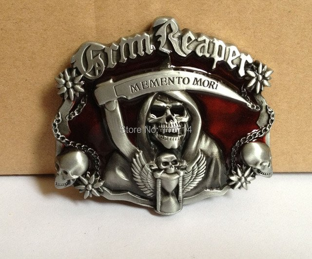 SKULL MEMENTO MORI belt buckle with pewter finish SW-B10-036 suitable for 4cm wideth belt with continous stock