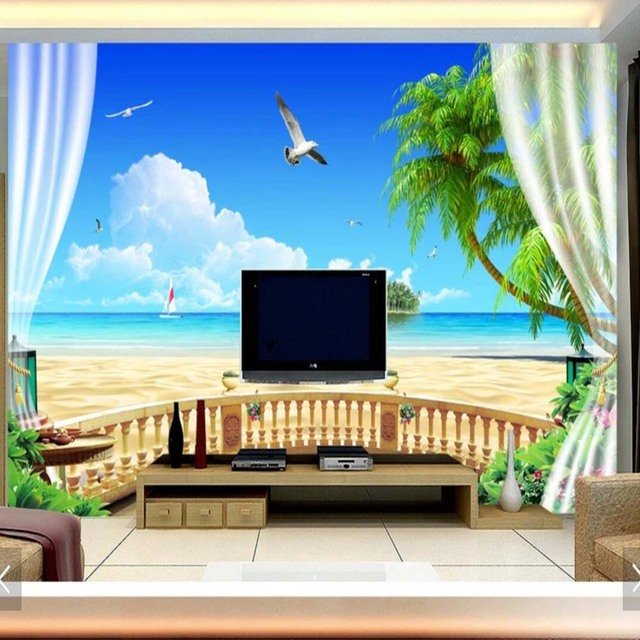Custom 3D Blue Sky Sea Wall Murals Wallpaper Hand Painted Flowers Oil Painting Wall Paper for Living Room Bedroom Mural