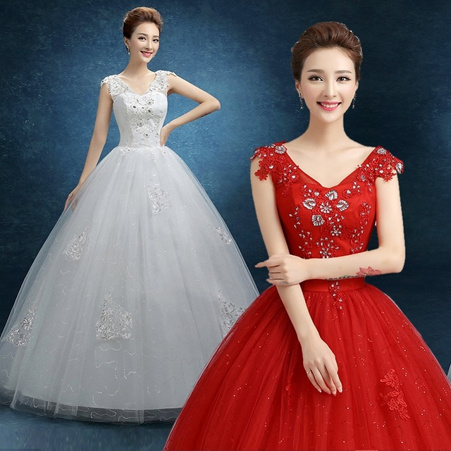 2017 New Stock Plus Size Women Pregnant Bridal Gown Wedding Dress Red White Ball Gown Sexy Diamond Bling Floor Length Hot Wmz615 Buy Inexpensively In The Online Store With Delivery Price