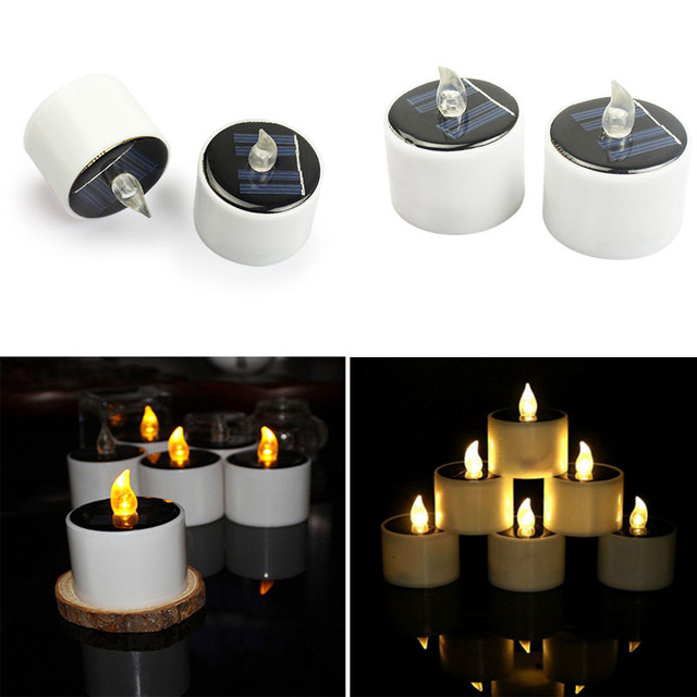 Solar Candles Light Votive Wedding Candles Lamp Best Gift Flickering LED Tealight