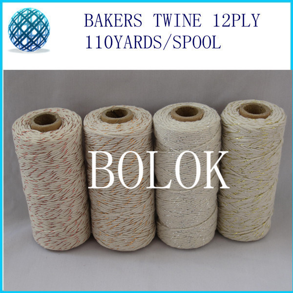 20pcs/lot Sliver/ gold/copper/red metallic Cotton Baker twine 110yards/spool used in gift packing by free shipping