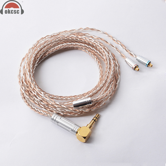OKCSC 8 Core MMCX Cable 7N Single Crystal Plated Silver and Copper Upgrade Cable for Shure SE846, SE535, SE315, SE215, UE900