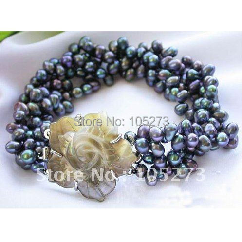 4Rows AA 6-7MM Black Rice Freshwater Cultured Pearl Bracelet Sea Shell Flower Clasp Fashion Jewelry New Free Shipping FN2156