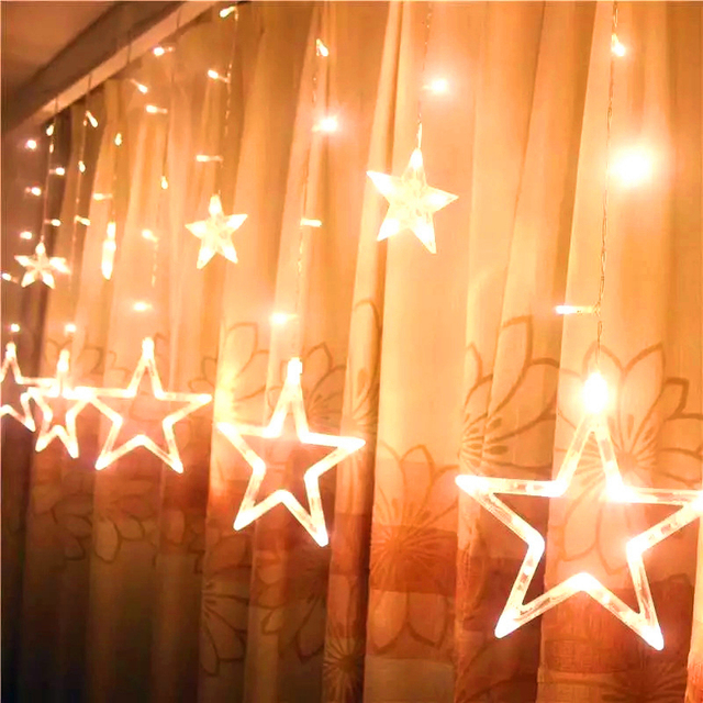 Star Holiday Light String 3m AC 220V LED Fairy Star Curtain String Lights Christmas Tree Decoration Wedding Garden Outdoor Decor