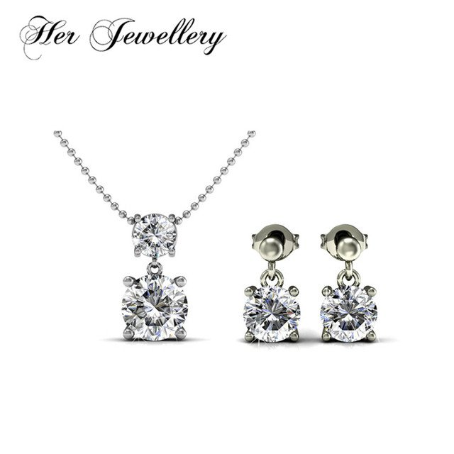 Her Jewellery round shaped earrings  jewelry set for Party necklace and earrings Made with crystals from Swarovski HS044