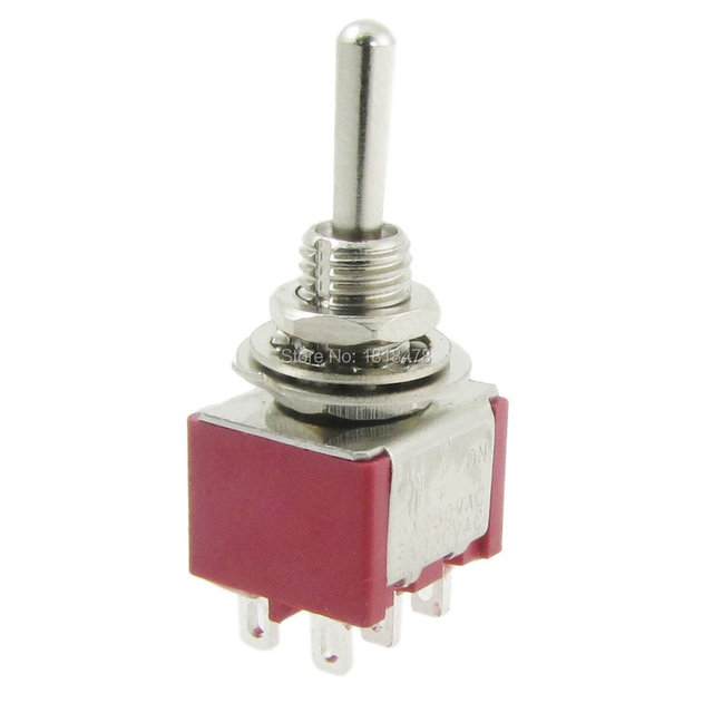 5 Pcs AC 250V 2A 120V 5A Momentary ON/OFF/ON 3 Position 6 Pins DPDT Toggle Switch