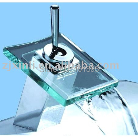 X8301B1 - Luxury Deck Mounted Chrome Color Brass Material Glass Basin Tap