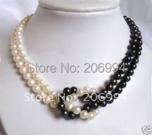 factory price 7-8mm Tahitian Black White Freshwater pearl necklace pearl Jewelry fashion jewellery