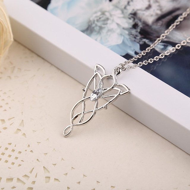 2017 New Wizard Princess arwen evenstar metal pendant necklace Evening Star High quality crystal necklace For Women