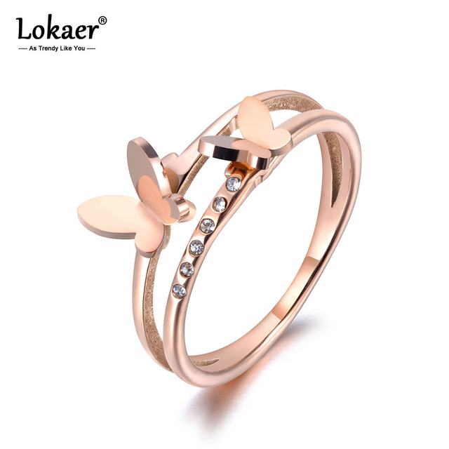 Lokaer OL Design Stainless Steel Double Butterfly Ring Rose Gold Micro Pave CZ Crystal Anniversary Rings For Women Girls R19020