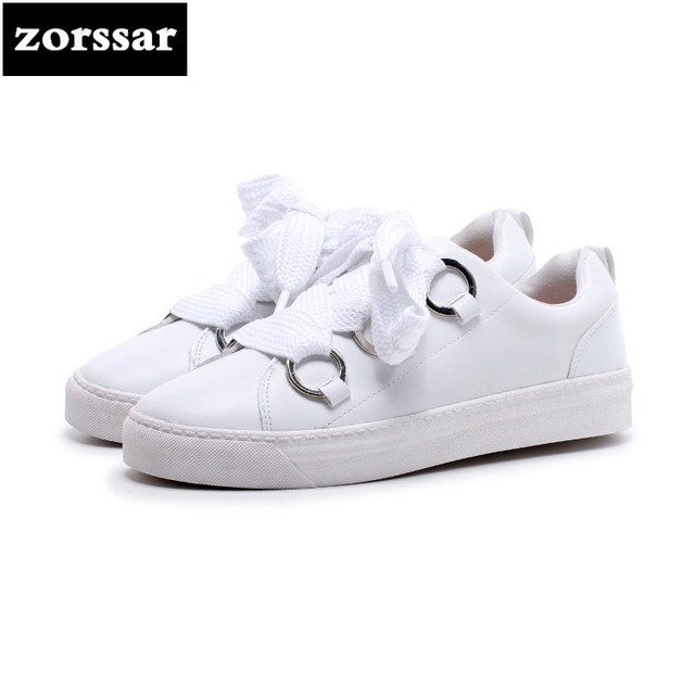 {Zorssar} Genuine cow Leather womens shoes flat Loafers shoes high quality Women sneakers Casual Flats White student shoes