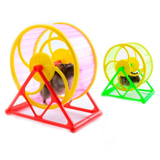 Wheel Toy Play With holder Pet Rodent Hamster Exercise Running Spinner