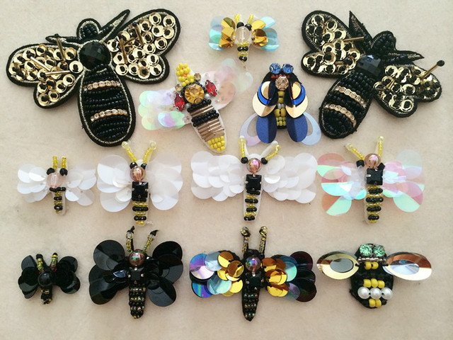 10pieces/lot  black white sequins beads Rhinestones shoes bag socks bees appliques patches brooch