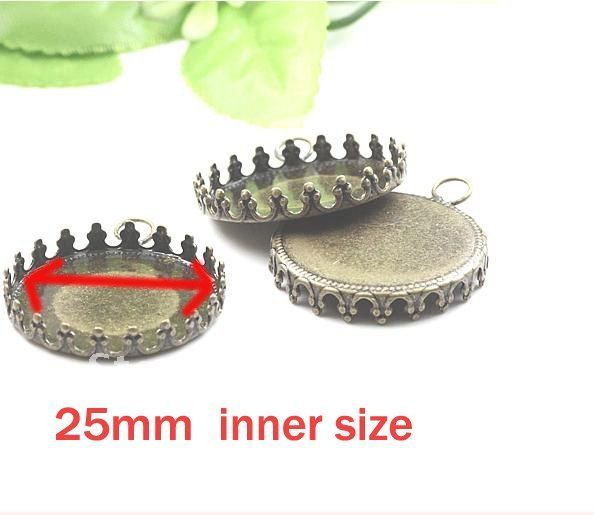 25mm inner size crown Antique tray,pendant trays,photo pendant DIY jewelry finding nickle lead free