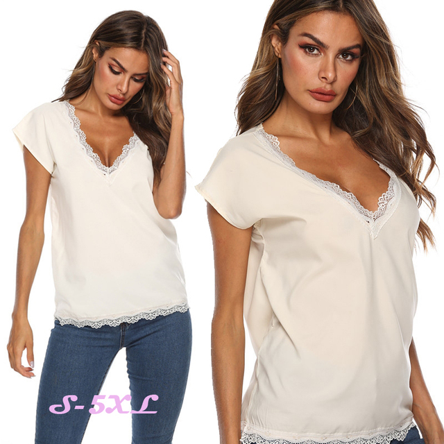 New Summer Women Lace Patchwork Blouse Shirt Casual Deep V Neck Tops Sexy White Pink Blouse Ladies Hollow Blouses Plus Size 5XL