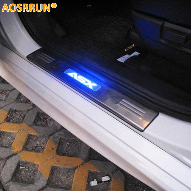 AOSRRUN LED stainless steel scuff plate door sill 4pcs/set car accessories for Mitsubishi ASX RVR 2011 2012 2013 2014 2015 2018