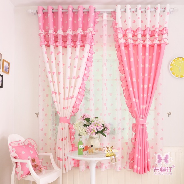 Lace Curtains Window Treatments Princess Children Room Pink Fabric Drapes Blue Curtains Tulle Girl Love Blind Home Decor Panels