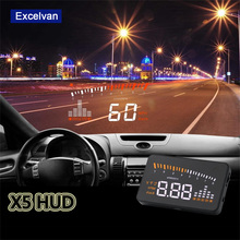 Universal X5 HUD Head Up Display Car OBD2 Overspeed Warning System Projector Windshield Auto Electronic Alarm Voltage