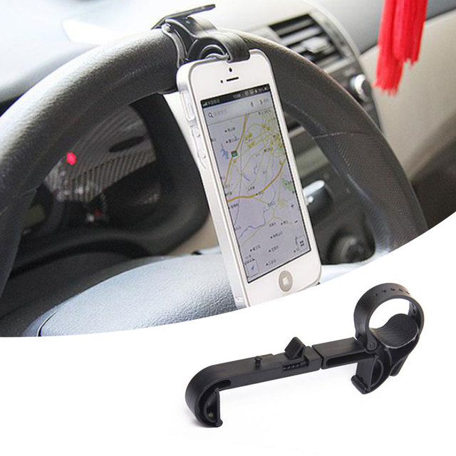 Universal Car Steering Wheel Mobile Phone Mount Holder Clip Iphone Sumsung Gps