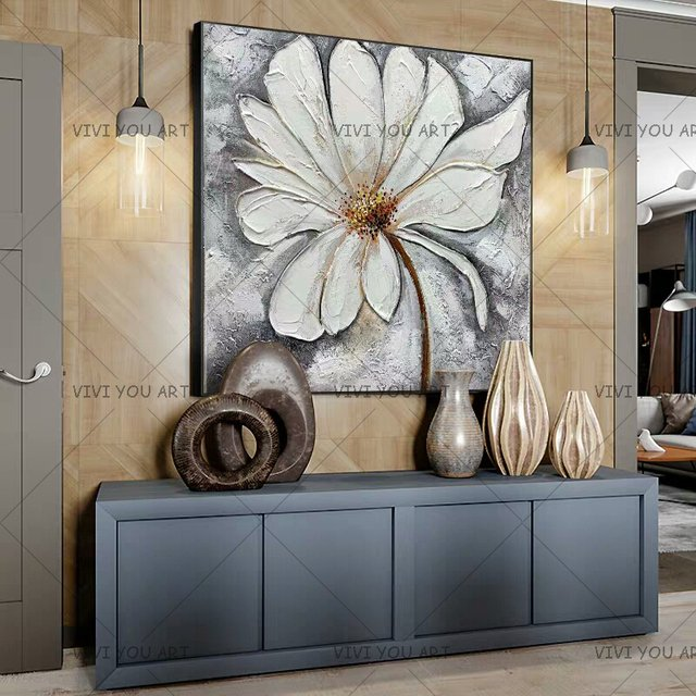 New Arrvial White Flower Wall Picture 100% Handmade Oil Painting On Canvas For Living Room Hanging