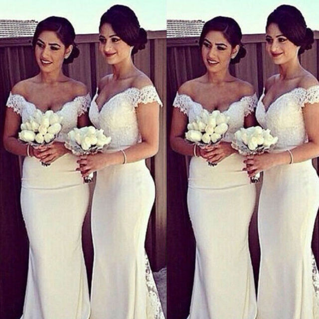 2018 Women Formal Wedding Bridesmaid Long Party Clubwear Gown Long Maxi Dress Short Sleeve Bodycon Strapless Solid Dresses