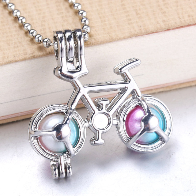 6pcs Bicycle Pearl Cage Jewelry Making Supplies Beads Cage Locket Pendant Essential Oil Diffuser Locket For Oyster Pearl