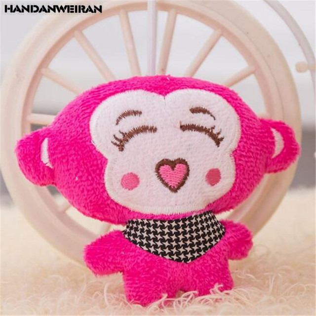 HANDANWEIRAN 1PCS Love Human Monkey Mini Cartoon Doll Plush Toy Pendant Cute Monkeys Mobile Phone Chain Hanging Ornaments 9CM