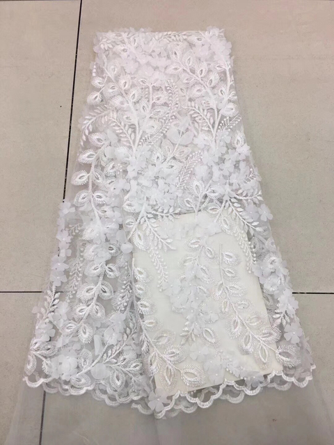 African Material Lace Fabric For Wedding, White African Lace Fabric 2018 High Quality Lace, 3D Flowers Lace Fabric K-D2378