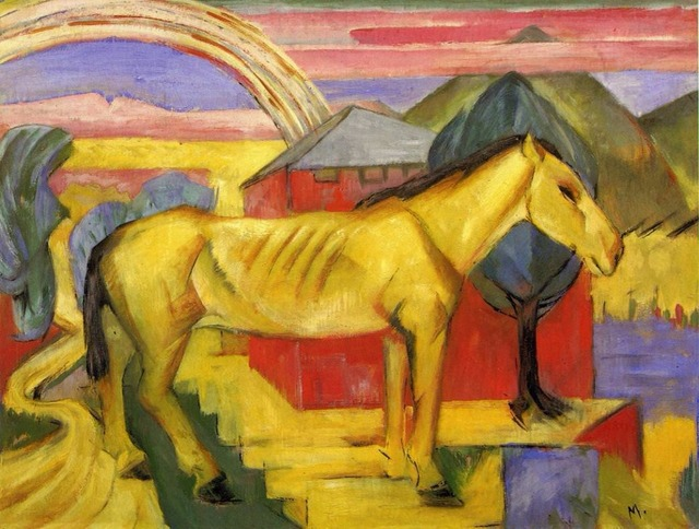Long Yellow Horse by Franz Marc oil painting canvas High quality hand painted abstract modern art for wall decor