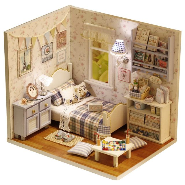 HOT SALE Sunshine Overflowing 3D DIY Wooden Doll House Furniture Handmade Puzzle Miniature Furniture Toy Gift
