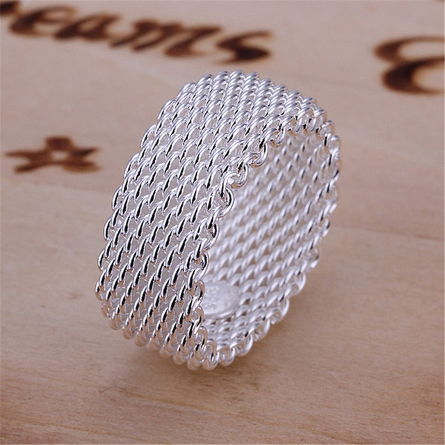 R40 Christmas gift free shipping wholesale Fashion chain mesh silver color ring high quality fashion classic gift Jewelry