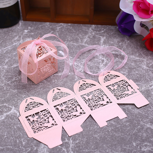 Paper Candy Boxes Dessert Package Storage Ribbon Gift Box Portable Cute Food Container Christmas Wedding