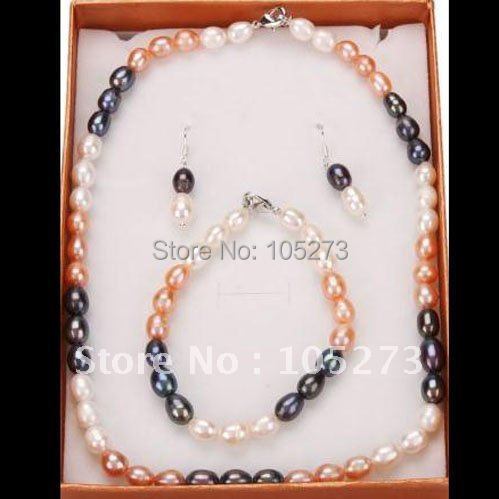 Amazing! pearl jewelry set A 7-8MM White pink black Multicolor Freshwater pearl necklace bracelet earring Free shipping