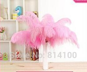 wholesale 50pcs 30-35cm/12-14inch Pink Color fluffy Ostrich Feather wedding Party decoration craft /DIY accessories