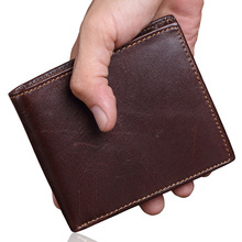 eTya Genuine Leather Fashion Men Short Wallets Thin Small Wallet Cowhide Leather Card Holder Coin Purse Pocket Purse Men Wallets