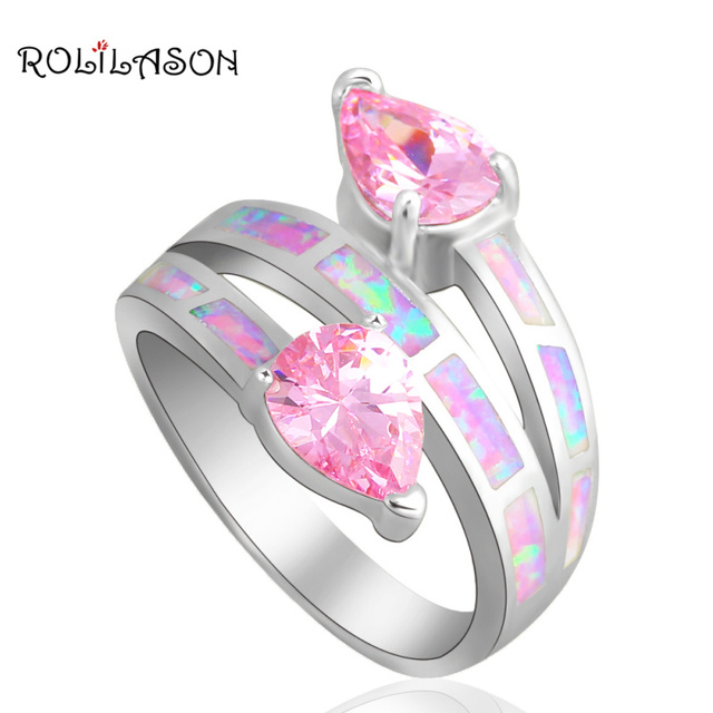 Beautiful Pink  Water drop Crystal  Jewelry Pink Fire Opal silver color Stamped Rings USA #6#7#7.5#8.5#9 OR719