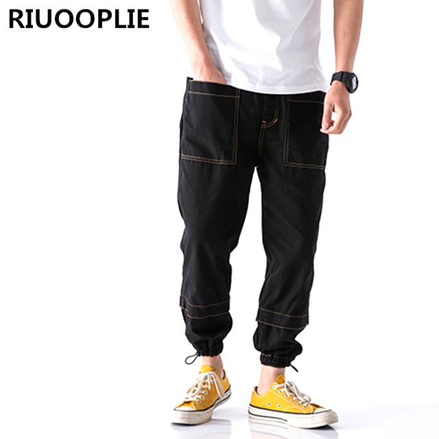 RIUOOPLIE Mens Casual Straight Tube Elastic Waist Harem Pants Trousers Cotton Jeans