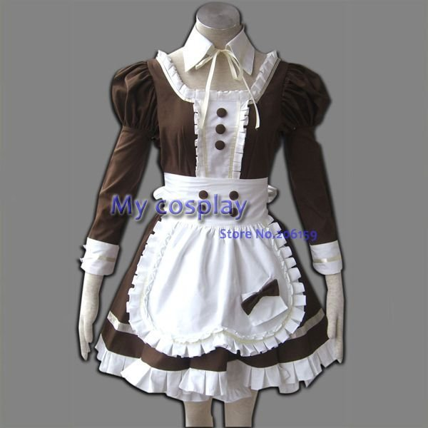 Maid Cosplay MAID servant women's cosplay costume Halloween Dresses Long sleeves Women Dress Brown Skirt with Apron