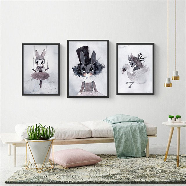 Poster and Prints Nursery Wall Art Canvas Painting Baby Room Decor Catoon Rabbit Print Wall Pictures for Living Room Girls Gift