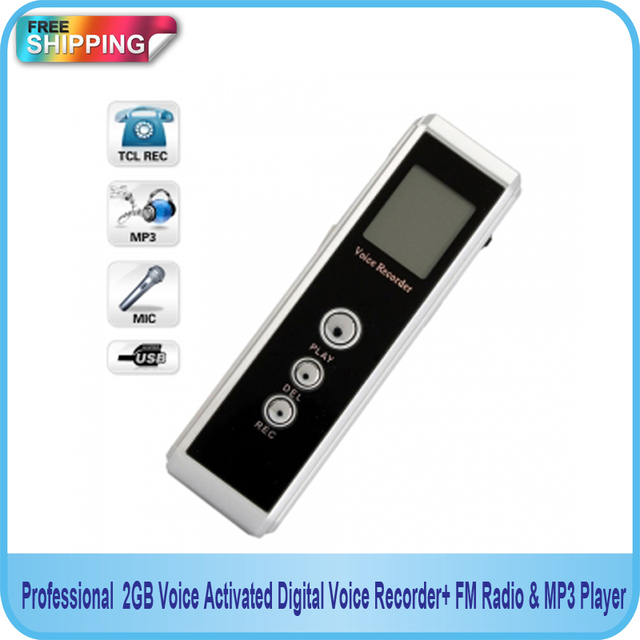 Free shipping! Professional 4GB Voice Activated Digital Audio recorder with FM & MP3 Player Function