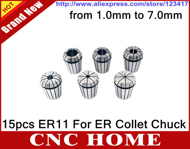 15pcs/set (Range 1mm to 7mm) ER11 PRECISION SPRING COLLET For CNC Router and Milling Cutting lathe tool, ER Nut