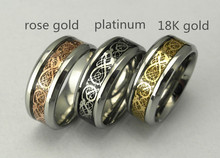 never fade Stainless steel Ring Mens Jewelry Wedding Band Silver & Gold Dragon rings for men & women