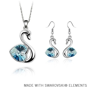 BeBella Fashion swan necklace earrings jewelry set Made with Swarovski Elements